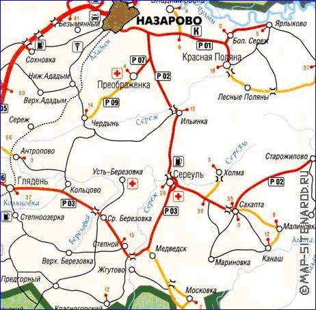 Подробная карта Назаровского