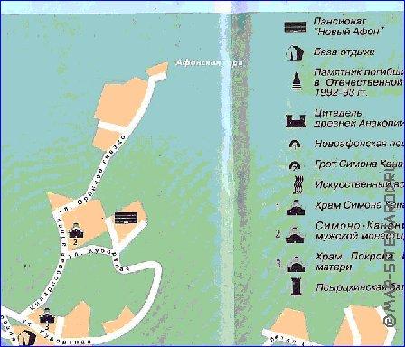 Карта отелей нового афона